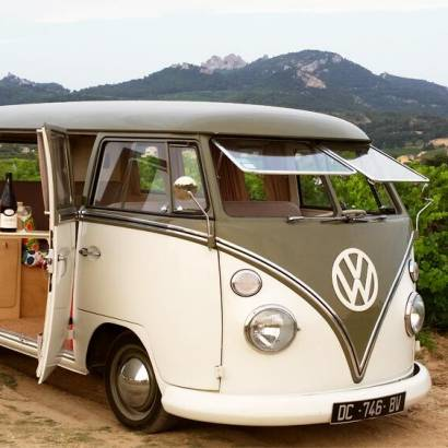 Explore the vineyards in a VW convertible bus